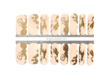 Load image into Gallery viewer, Blush pink with gold flakes nail wrap set from Ivy & Ash - at home DIY manicure set - easy and affordable nail strips