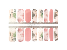 Load image into Gallery viewer, Dusty rose and pastel palm pattern mixed mani nail wrap set from Ivy & Ash - at home DIY manicure set - easy and affordable nail strips