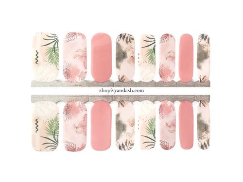 Dusty rose and pastel palm pattern mixed mani nail wrap set from Ivy & Ash - at home DIY manicure set - easy and affordable nail strips