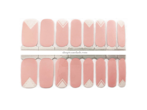Baby pink with white and transparent triangle nail wrap set from Ivy & Ash - at home DIY manicure set - easy and affordable nail strips