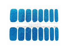 Load image into Gallery viewer, Bright blue glitter nail wrap set from Ivy & Ash - at home DIY manicure set - easy and affordable nail strips