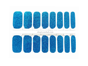 Bright blue glitter nail wrap set from Ivy & Ash - at home DIY manicure set - easy and affordable nail strips