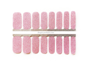 Light pink glitter nail wrap set from Ivy & Ash - at home DIY manicure set - easy and affordable nail strips
