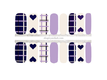 Load image into Gallery viewer, Purple Plaid Nail Wrap Set