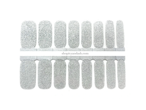 Shiny silver glitter nail wrap set from Ivy & Ash - at home DIY manicure set - easy and affordable nail strips