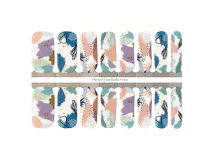 Cool pastel mod pattern nail wrap set from Ivy & Ash - at home DIY manicure set - easy and affordable nail strips
