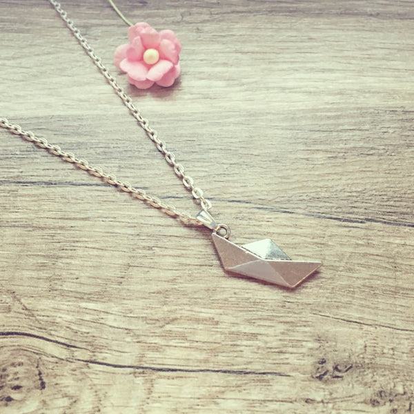 Kurze Kette Paperboat Boot silber