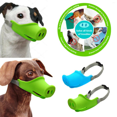 Dog Muzzles Stop Bark Bite Mouth Mask Adjustable for Small Dog Pets Blue Green  Cute Pig Dog Muzzle Silicone Anti-bite