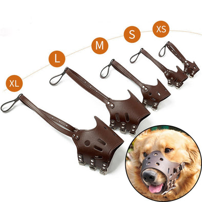 PU Leather Pet Dog Muzzle Adjustable Breathable Dog Prevention Bite Chew Masks for Small Medium Large Dogs Mouth Pet Supplies