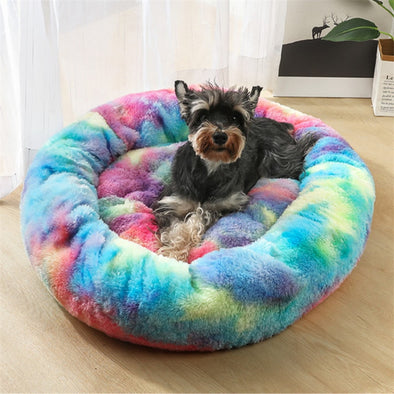GLORIOUS KEK Luxury Dog Bed Winter Deep Sleep Donut Pet Bed for Small Medium Dogs Cats Sofa Soft&Comfy Dog House Round Washable
