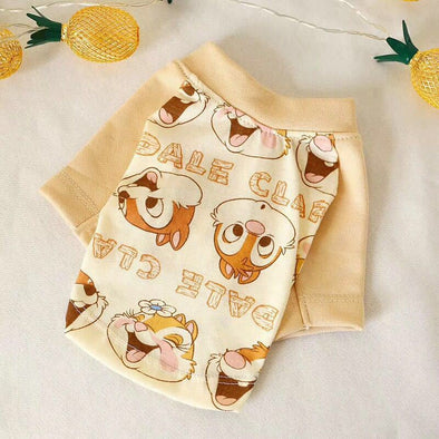 Cute Squirrel Print Pet Dog Tshirt Vest for Small Dogs Summer Puppy Cat Clothes Chihuahua Yorkshire Shirts Pets Clothing Outfit