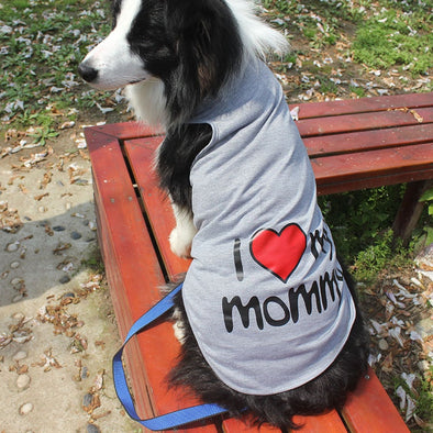 XXXL-9XL Pet Big Dog Vest Summer 100%Cotton Large Size Dog Clothes Shirt I LOVE MY DADDY MOMMY T-shirt For Dogs Clothing Pink