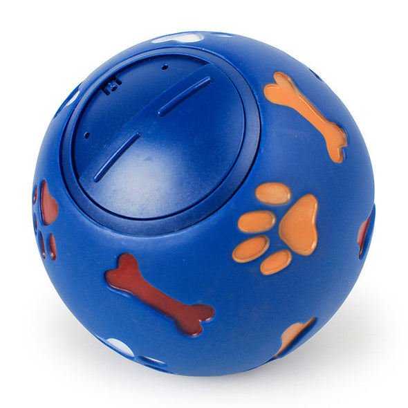 Dog Toy Rubber Ball Chew Dispenser Leakage Food Play Ball Interactive Pet Dental Teething Training Toy Blue Red 7.5cm/2.95''