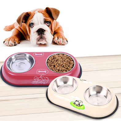 Stainless Steel Feeder Dog Drinking Big Double Bowl Easy Take Food/Water Feeder Puppy Dog Cat  Bowl 2 Colors Good Quality Hot !