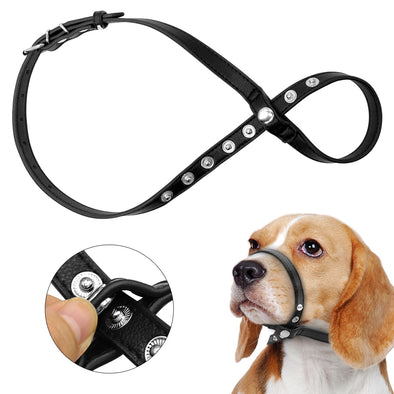 Adjustable Pet Leather Dog Muzzle Pet Mask Bark Bite Mouth Muzzle Grooming Dogs Head Collar For Small Medium Large Dogs