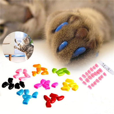 Colorful Pet Cat Claw Covers Environmental PVC  Dog Paws Decoration Nail Caps Protective Nail Covers with 1 Glue Pet Accessories