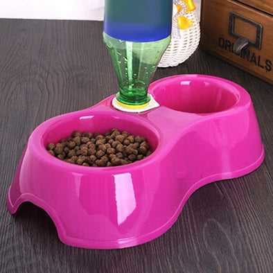 1pcs Dual Port Dog Cat Pets Automatic Water Dispenser Feeder Bowl Utensils Pet Drinking Water Feeder Bowl DropShipping