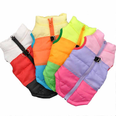 Popular Color Blocking Pet Apparel Dog Clothes Winter Puppy Dogs Vest Cotton-padded Jacket Coat for Chihuahua Teddy Poodle XS-L