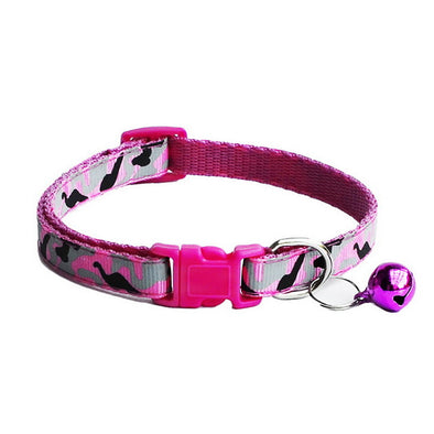 1PC Pet Dog Cat Collars Polyester Dog Camouflage Collar With Bell Kitten Neck Adjustable Collar For Small Pet Dog Leash