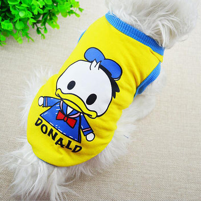 2019 Spring Summer Cartoon Dog T-Shirt Lovely Donald Duck Dog Cat Vest Soft Cotton Puppy Sweatshirt Clothing For Chihuahua