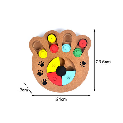 2019 Natural Food Treated Wooden Paw Shape Pet Dog Cat IQ Training Toys Educational Feeding Game Paw Puzzle Plate Playing Toy
