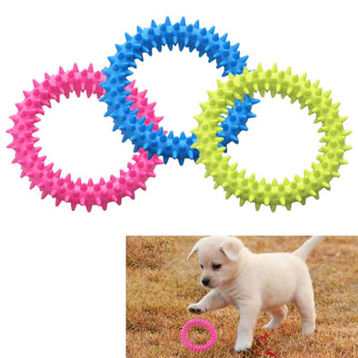 Dog Biting Ring Toy Dog Soft Rubber Molar Toy Pet Bite Cleaning Tooth Toy Increase The Intelligence Of Pets Tool