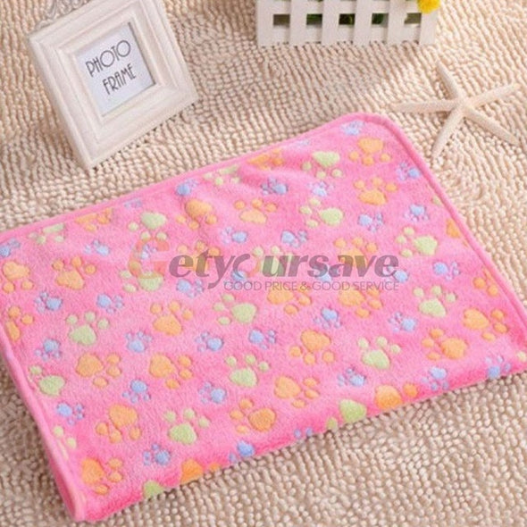 Cute Pet Small Warm Blanket Paw Print Dog Cat Hamsters Puppy Fleece Soft Beds Mat Cushion Pad