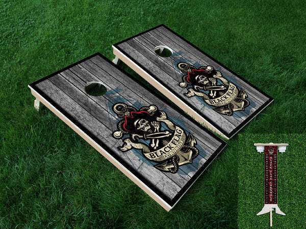 Black Flag Cornhole Boards and Scoreboard Package - Discount Cornhole