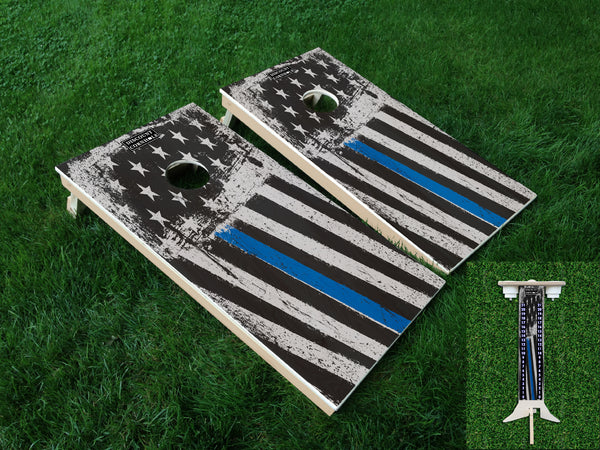 Blue Line Flag Cornhole Boards and Scoreboard Package - Discount Cornhole