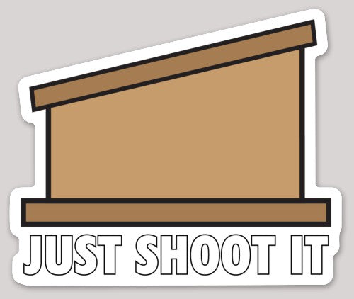 Just Shoot It Cornhole Sticker - Discount Cornhole