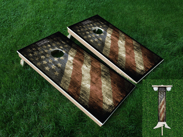 Rustic Flag Cornhole Boards and Scoreboard Package - Discount Cornhole