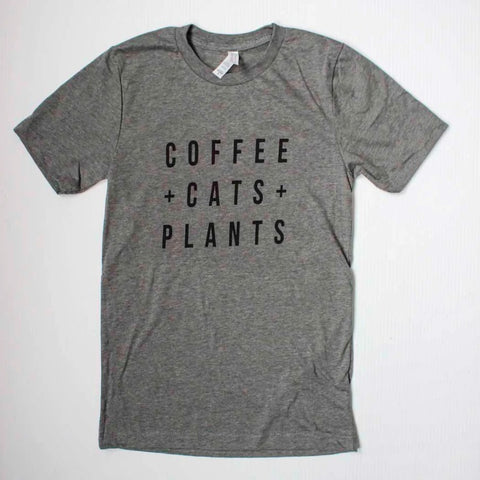 Coffee Cats Plants Unisex T-shirt