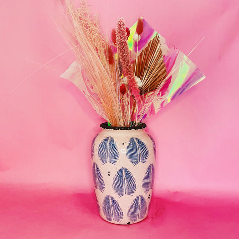 Pretty in Pink Dried Bouquet + Vase