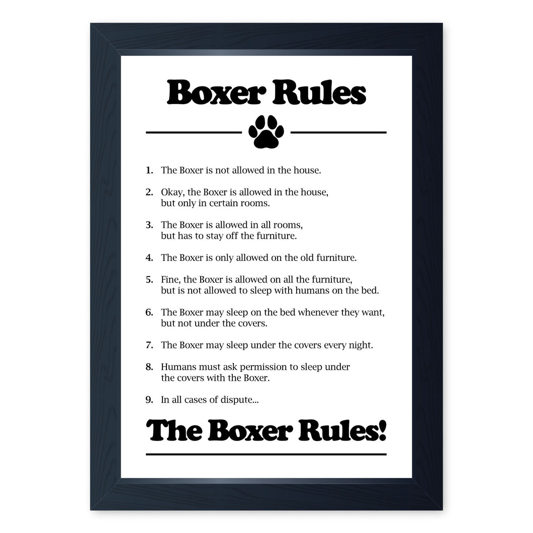 Boxer Dog Rules, Framed Print