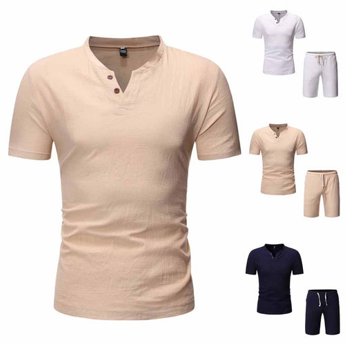 Men's Cotton Linen Short Sleeve