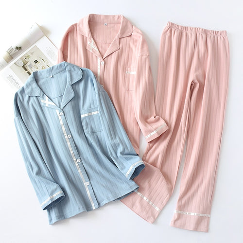 Women Knitted Cotton Pajamas Set