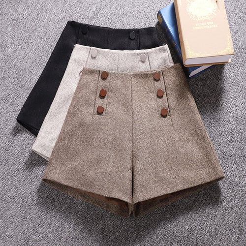 Korean Woolen Shorts Women