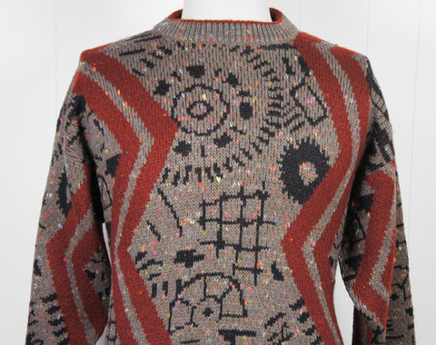 1980's Cosby Sweater w/ Super Crazy Fun Pattern, Size L