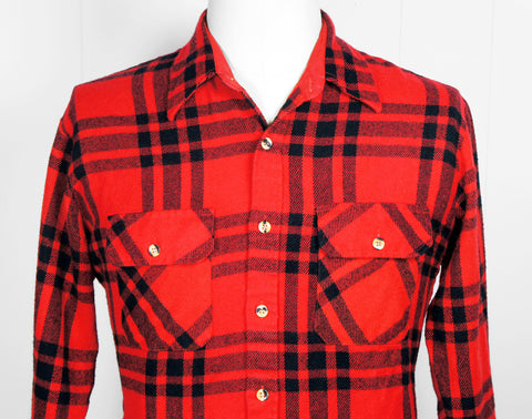 1980's Red & Black Striped Plaid Flannel Shirt - Size L