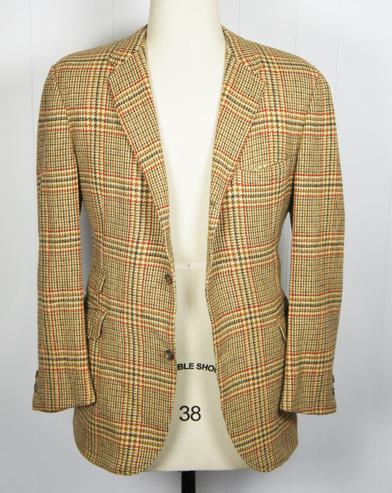 1960's Brown & Burnt Orange Tweed Blazer, Size L