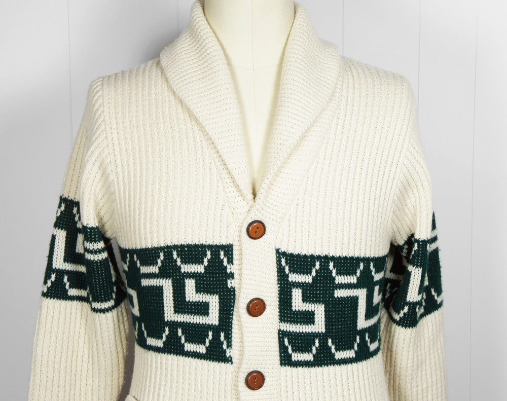1970's Forest Green & Off White Button Up Cardigan Sweater, Size S