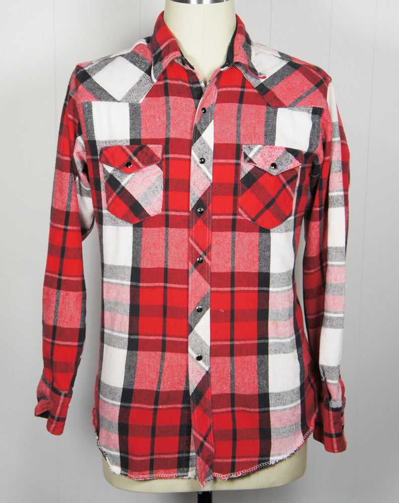 Red, Black & White Striped Flannel Western Pearl Snap Shirt - Size XL