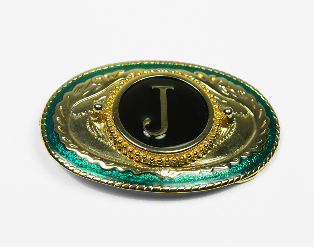 Green & Gold Letter J Belt Buckle