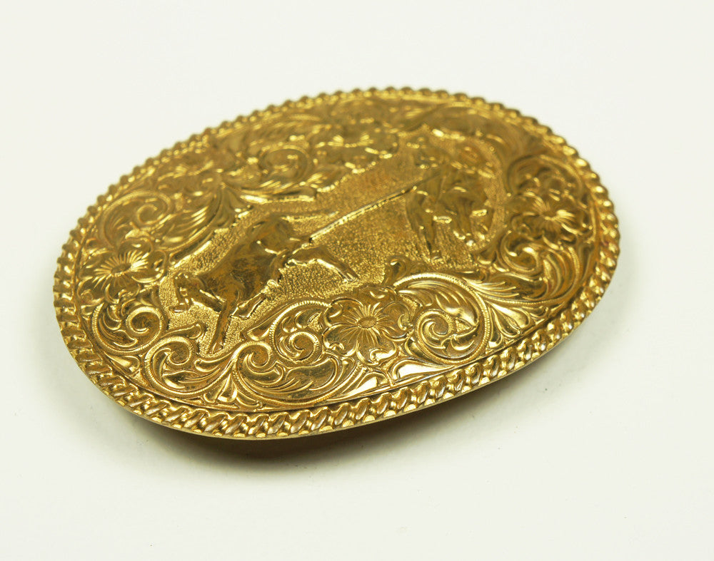 1970's El Alturo Bronze Calf Roping Belt Buckle
