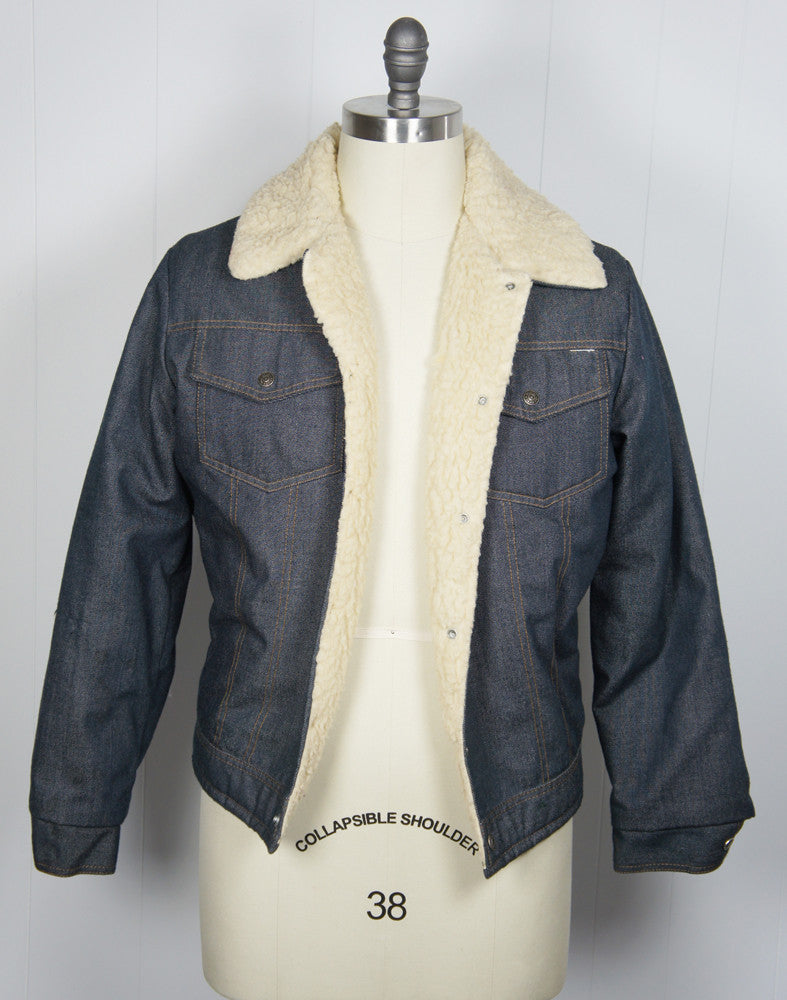 1970's Sherpa Lined Denim Winter Jacket - Size M