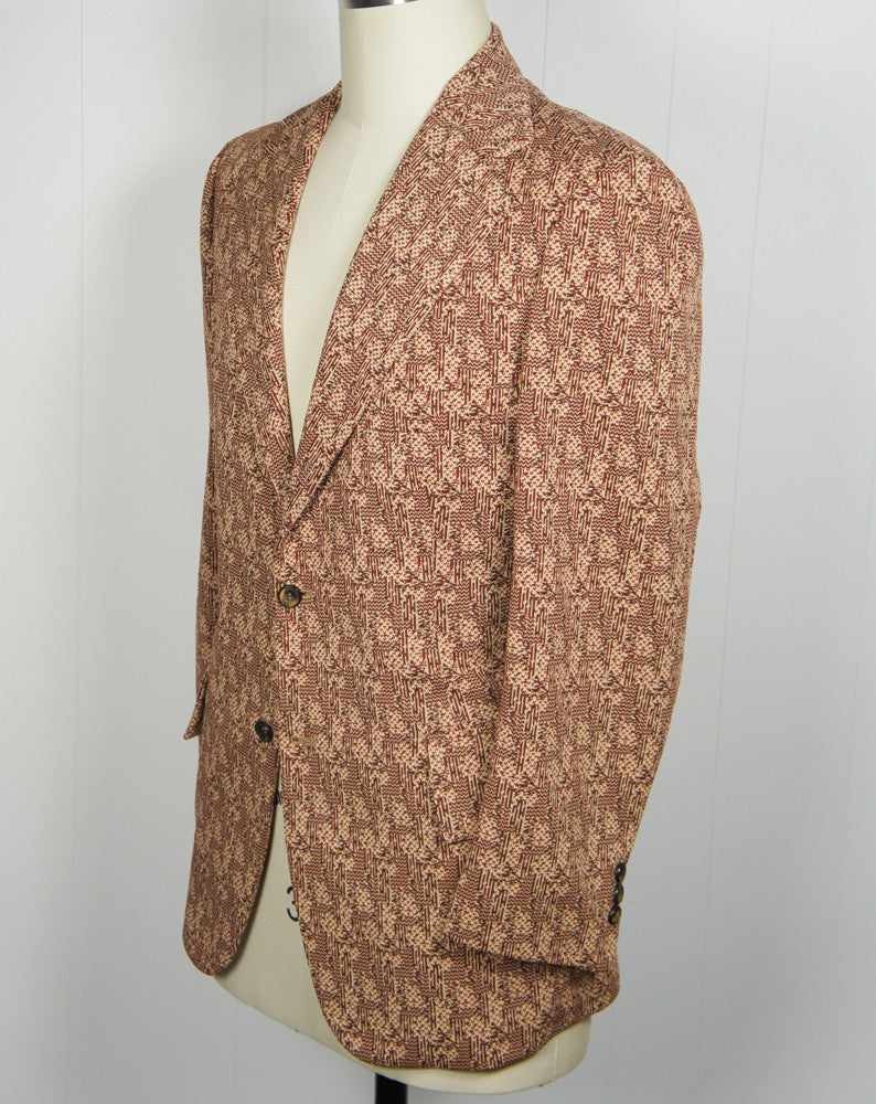 "1960's Brown & Burnt Orange ""The Traveller"" Knit Blazer, Size M"