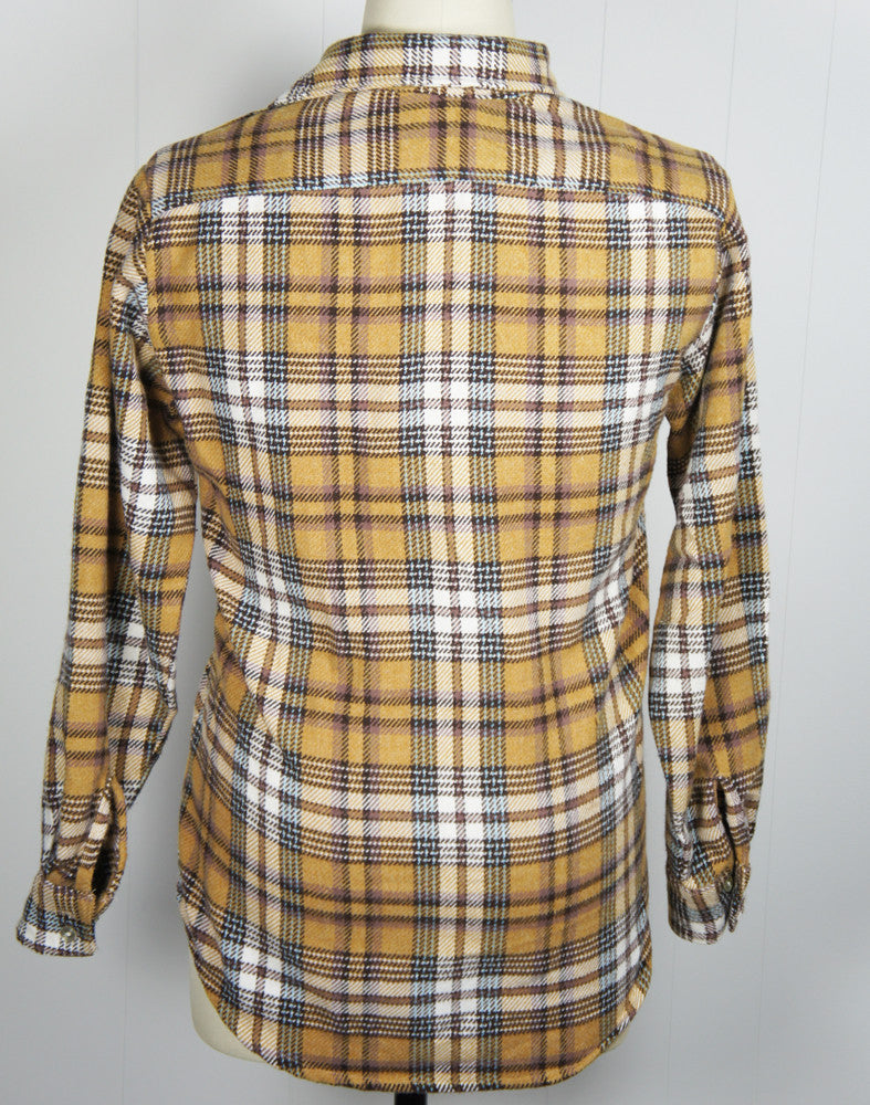 1960's Brown, Baby Blue & White Striped Plaid Wool Flannel Shirt - Size L