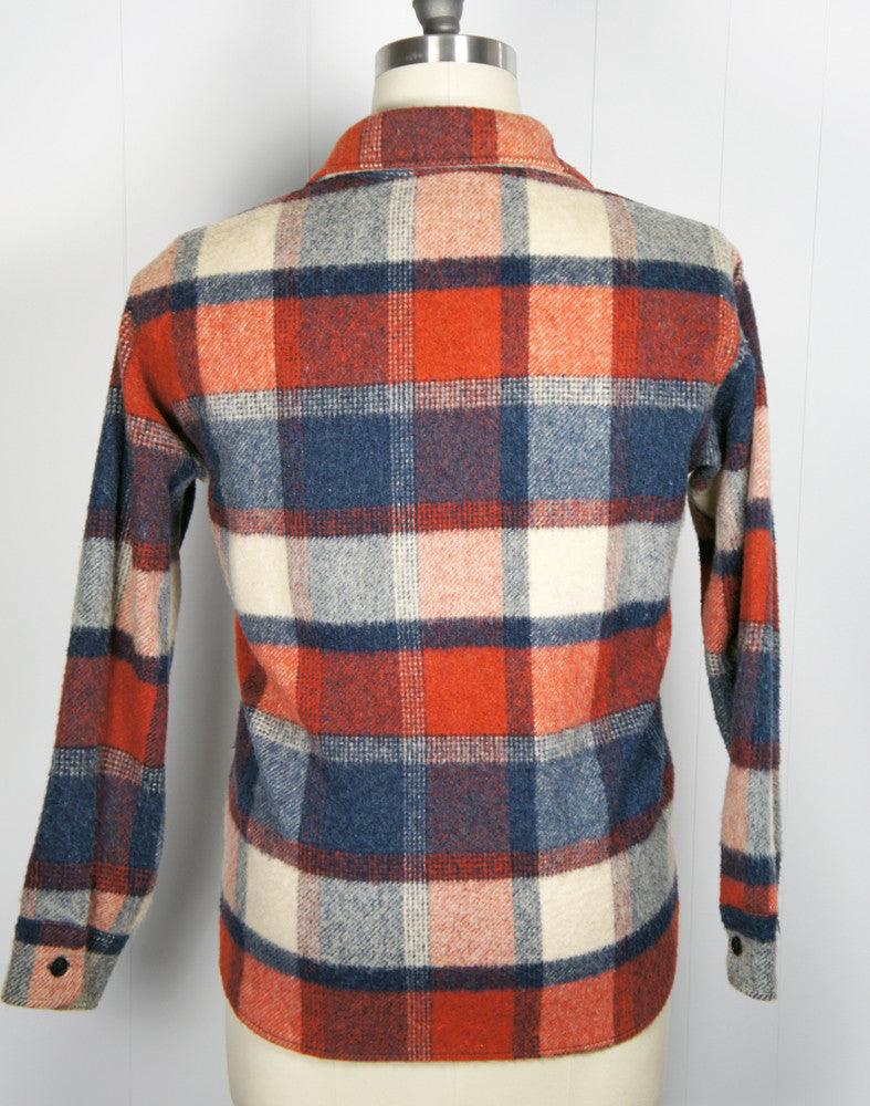 1950's Blue, Burnt Orange & Off White Checkered Flannel Shirt - Size L