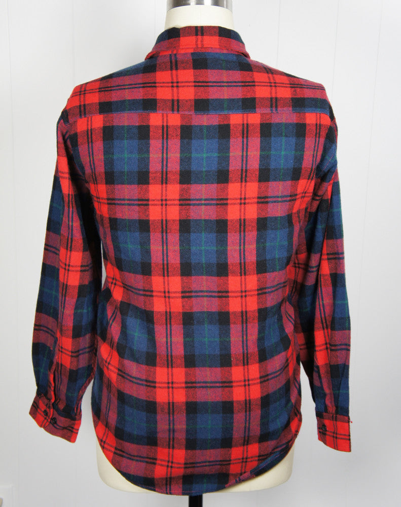 1980's Red, Blue & Black Striped Plaid Fieldmaster Flannel Shirt - Size XXL