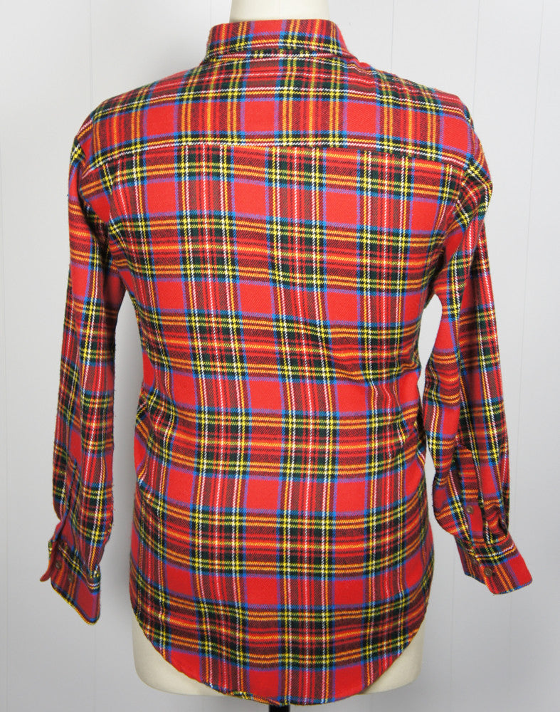 1980's Festive Multicolor Striped Plaid Flannel Shirt - Size XL